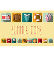 Summer vacation flat icons with long shadow design vector image
