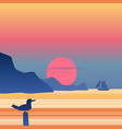 sunset sailboat on blue sea ocean horizon seagull vector image