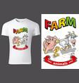 t-shirt design with cartoon farm animals vector image