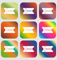 ticket icon sign Nine buttons with bright vector image