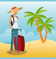 tourist in the beach vector image vector image