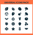 vegetable icons set with cauliflower coconut vector image