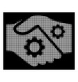 white halftone smart contract handshake icon vector image