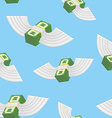 Winged money seamless pattern Cash in blue sky vector image vector image