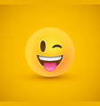 wink tongue out yellow emoticon face 3d background vector image