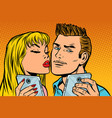 young couple kiss selfie on smartphone vector image