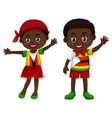 zimbabwe boy and girl in flag color costume vector image vector image