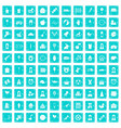 100 child center icons set grunge blue vector image vector image