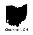 1321 cincinnati oh on ohio state map vector image vector image