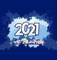 2021 horizontal english city calendar vector image vector image