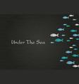 abstract school fish on blackboard background vector image