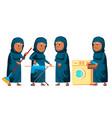 arab muslim old woman poses set elderly vector image