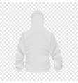 back of white hoodie mockup realistic style vector image vector image
