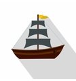 Boat with sails icon flat style vector image vector image