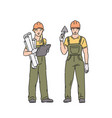 builder woman and man in professional uniform and vector image vector image