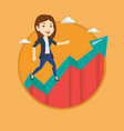 business woman standing on growth graph vector image vector image