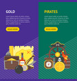 cartoon pirate signs banner vecrtical set vector image vector image