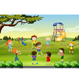 Children playing blind folded in the park vector image vector image