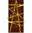 closed dooor with yellow police tape vector image vector image