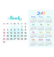 colorful planner 2019 march separately vector image vector image