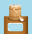 dairy products advertising with milk wooden barrel vector image vector image