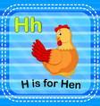 flashcard letter h is for hen vector image vector image