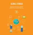 global storage video web banner in flat style vector image vector image