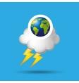 globe earth weather meteorology cloud lightning vector image vector image