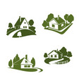 green eco house icon for real estate design vector image vector image