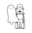 happy halloween celebration boy dracula with cape vector image