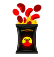 Hellish chips for Halloween Packing snacks with vector image