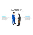 isometric two businessmen shake hands and make vector image