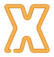 letter x bread icon cartoon style vector image
