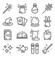 line magic icons set outlie vector image
