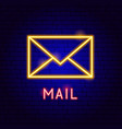 mail neon label vector image