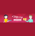 man woman couple holding gift boxes for each other vector image vector image