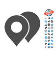 map markers icon with free bonus vector image vector image