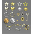 metal silver and gold elements vector image
