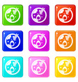 miso soup icons 9 set vector image vector image