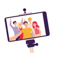 mobile phone screen on a selfie stick with photo vector image vector image