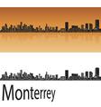 Monterrey skyline in orange vector image vector image