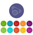 motor icons set color vector image vector image