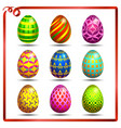 multi colored easter eggs on a white background vector image vector image
