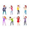 music singers male and females performers set vector image vector image