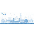 outline bari italy city skyline with blue vector image vector image