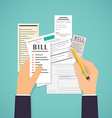 Paying bills Hands holding bills and pencil vector image vector image