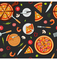 Pizza Seamless Pattern with Ingredients vector image
