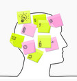 profile head drawing with sticky notes vector image