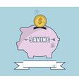 Putting Money Coin Into Piggy Bank Flat Design vector image vector image