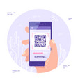 qr code scanning concept banner flat style vector image vector image